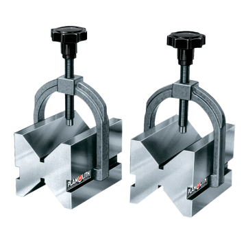 Pair of hardened double vee-blocks with clamps